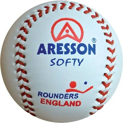 Aresson Softy Rounders Sports Match Practise Soft Leather Training Ball White