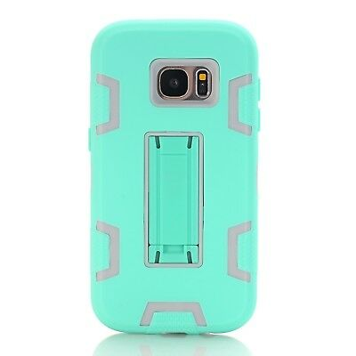 (Green Gray) - Galaxy S7 Case, SAVYOU [Kickstand Feature] High Impact Shockproof