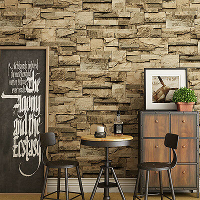 10M 3D Brick Stone Printed Wallpaper Roll Room Background Wall Mural Stickers