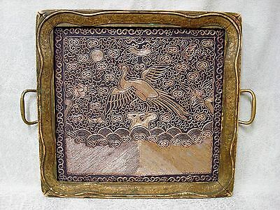 Antique Chinese Rank Badge Silk Needlework Couching Embroidery Tray