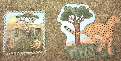 African savannah double lightswitch cover, wall sculpture for kids, resin