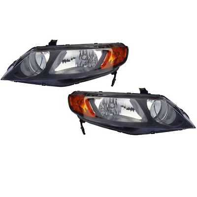 New Driver & Passenger Headlight Assembly Pair fits 06-11 Honda Civic Sedan