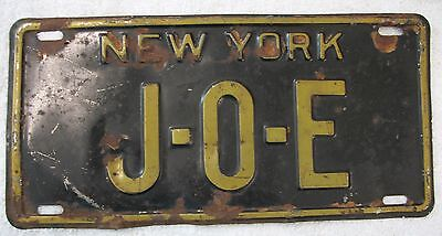 "Vintage 1930's  License Plate / New York State / Yellow On Black / ""j - O - E"""