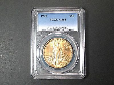 1922  PCGS MS63  $20 Gold Saint Gaudens  Double Eagle