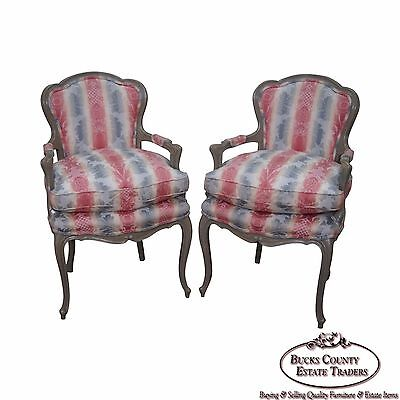 Custom Quality Paint Frame Pair of French Louis XV Style Fauteuils Arm Chairs
