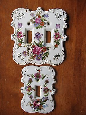 Vintage Porcelain Dresden Style Floral Light Switch Plate Cover Single LOT 2