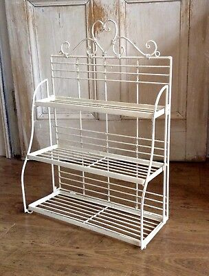 Antique Metal Three Tiered Shelves Cream