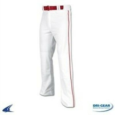 Champro Youth Pro Plus Open Bottom Baseball Pants with Piping-White with Scarlet
