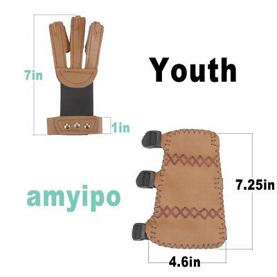 (Brown-For Youth, 2-piece set) - AMYIPO Cowskin 3 Finger Protective Glove & 3
