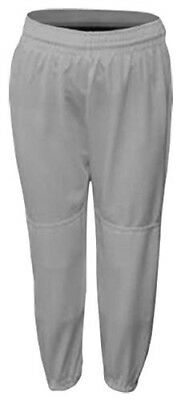 Grey Youth Small Baseball/Softball Pull-Up Pants with Drawstring. Delivery is Fr