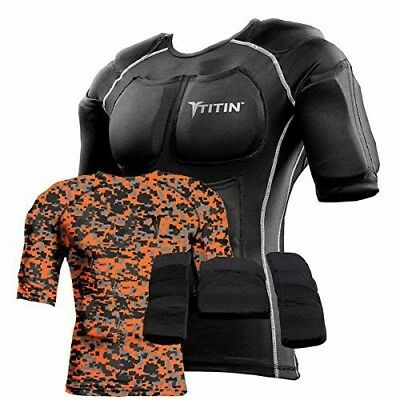 (LG/Large, Orange Camo) - The TITIN Force Weighted Shirt System - 3.6kg Of Hydro
