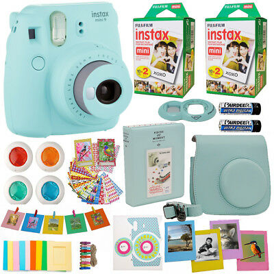 Fujifilm Instax Mini 9 Instant Camera Ice Blue +40 Film All in One Deluxe Bundle