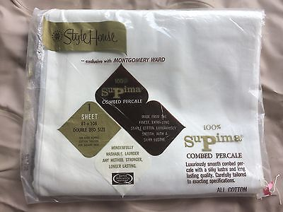 """wh SUPRIMA COMBED PERCALE COTTON sheet 81"""" vint NWT  by STYLE HOUSE  DEAD STOCK"""