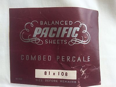 """percale cotton sheet 81"""" vint NWT NU GREAT GRAPHICS on tag PACIFIC DEAD STOCK"""