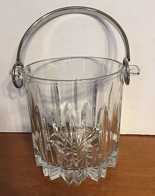 Heavy Cut Crystal Ice Bucket With Silver Plated Handle Made In Italy