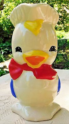 VINTAGE MID-20th CENTURY HAND PAINTED PORCELAIN COLONIAL DUCKLING PITCHER