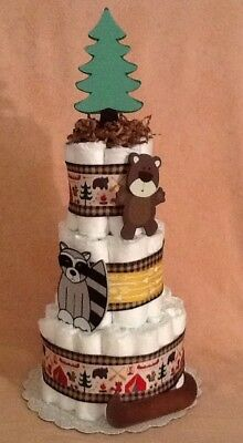 Hide & Seek Outdoors Woodland Forest Friends 🐻 🦊🛶Baby Shower Diaper Cake