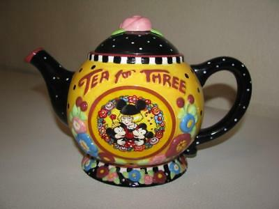 Mary Engelbreit Disney's Mickey/Minnie Tea For Three Teapot ~ Rare ~ EXCELLENT