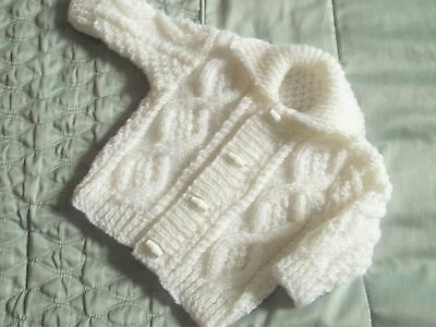 cute hand knitted white aran collered cardigan/jacket boy/girl 0-3 month/reborn