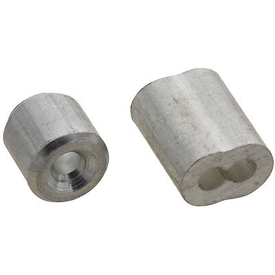 "(2) Stanley/National N283-846 Cable Ferrules & Stop 1/16"" - Aluminum 2PK"