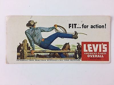 Vintage ink blotter cards Levis Jeans Fit...For Action