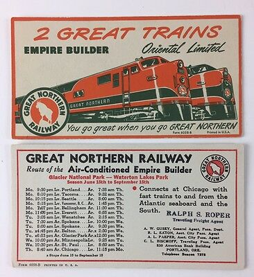 Vintage ink blotter cards Great Northern Railway Oriental Limited Empire Builder