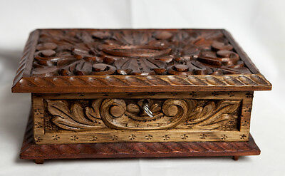 Antique Victorian Curved Wooden Box With Key