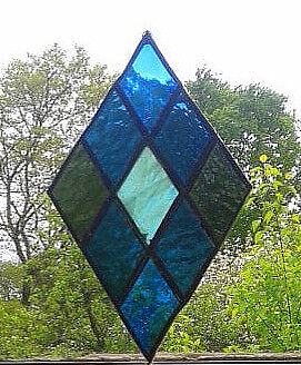 STAINED GLASS PANEL. Diamond. Handmade by The Stained Glass Panel Studio.