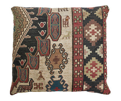 Kilim Caucasian Wool Cushion, circa 1920. Geometric Pattern