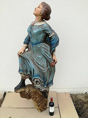 HUGE Antique french Ship Figurehead Shop Sign trade Theater Art Deco mid century