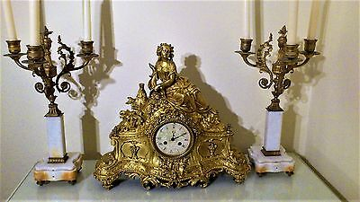 Antique French Ormolu Bronze Figural Mantel Clock.