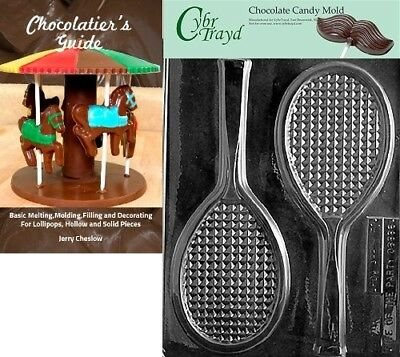 Cybrtrayd Tennis Racquet Sports Chocolate Candy Mould with Chocolatier's Guide