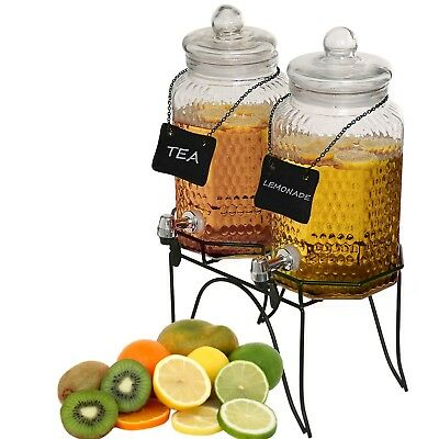 Country Style Glass Dual Drink Dispensers w/ Metal Stand & 2 Erasable