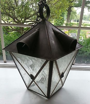 Large Vintage Brass Or Bronze Porch Outdoor Lantern From France