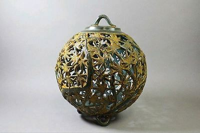 "Japanese Antique Copper Bronze Lantern ""Momiji"" made by Takaoka Copper Studio."