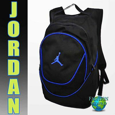 NIKE AIR JORDAN Jumpman Backpack Laptop School Gym Bag Black/Blue 9A1118