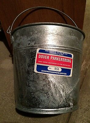 NOS DOVER 514 GALVANIZED STEEL HEAVY DUTY PAIL 14 QT-Made in USA