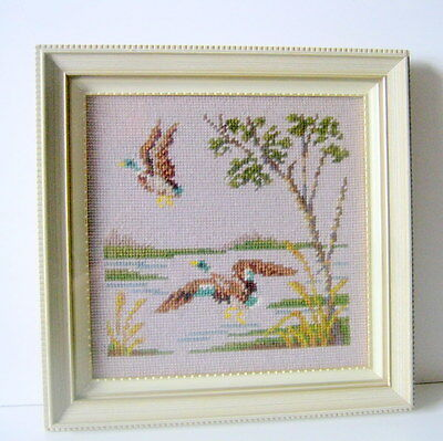 Duck Picture-Mallard Picture-Needlepoint-Framed Shabby Picture-Wood Glass Frame
