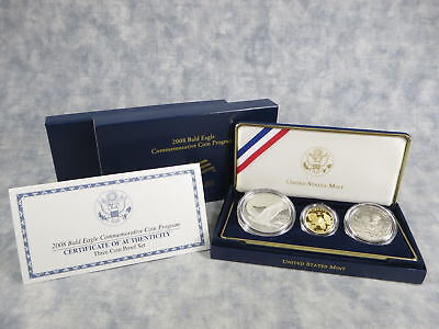 2008 Bald Eagle Commemorative Gold & Silver 3-Coin Proof Set in Box with COA