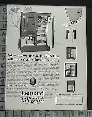 1925 Leonard Grand Rapids Ice Box Florida Key West Milk Home Decor Ad  Co61