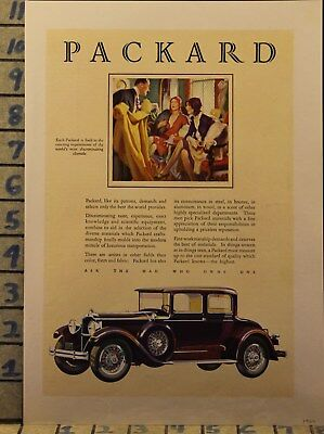 1929 Packard Roadster Coupe Woman Sport Drive Car Auto Vintage Art Ad  Bn10