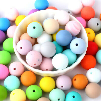 50Pcs Silicone Beads Loose Teething Beads DIY Baby Chewable Jewelry Necklace