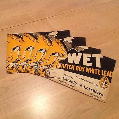 Lot of 4 Vintage 1939 Dutch Boy wet paint white lead signs Brooklyn<NY