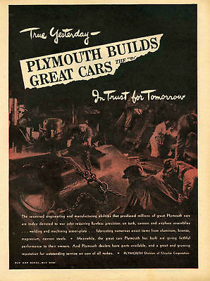 1943 Chrysler Plymouth Tank Assembly Line WWII Print Ad