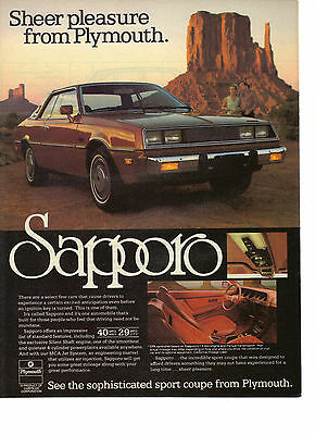 1978 Plymouth Sapporo Sport Coupe Sheer Pleasure Chrysler Corporation Ad