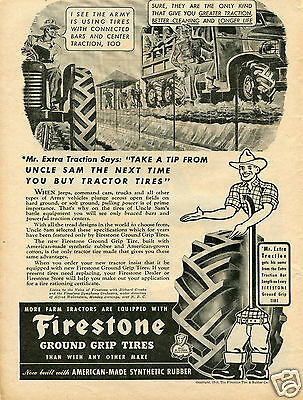 1943 Firestone Mr Extra Traction & ARMY Farm Tractor Tire Print Ad