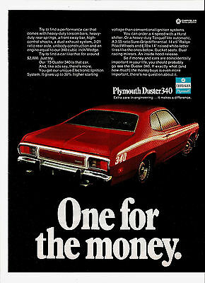 1972 Print Ad for 1973 Plymouth Duster 340 One For The Money Chrysler Motors