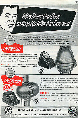 1951 Print Ad of The Radiart Corp Cornell Dubilier Antenna Tele Rotar & Cub