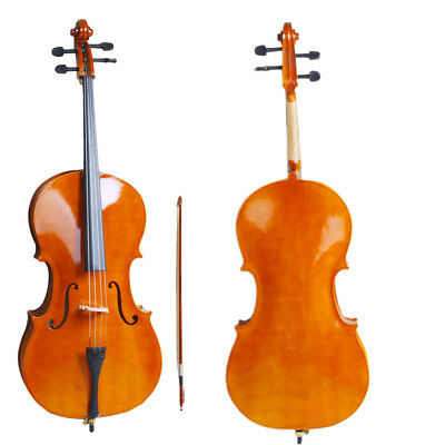 4/4 Size Natural Wood Cello Set for Student Beginners Professional Player UK