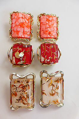 LOT of 3 Confetti Lucite Earrings Coral/Red/White MCM Vtg Collectible Plastics